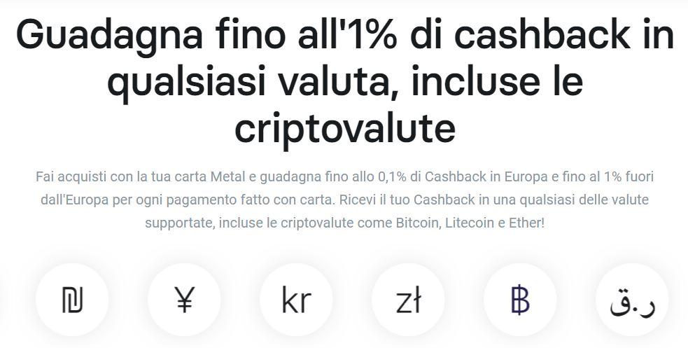 cashback criptovalute revolut metal
