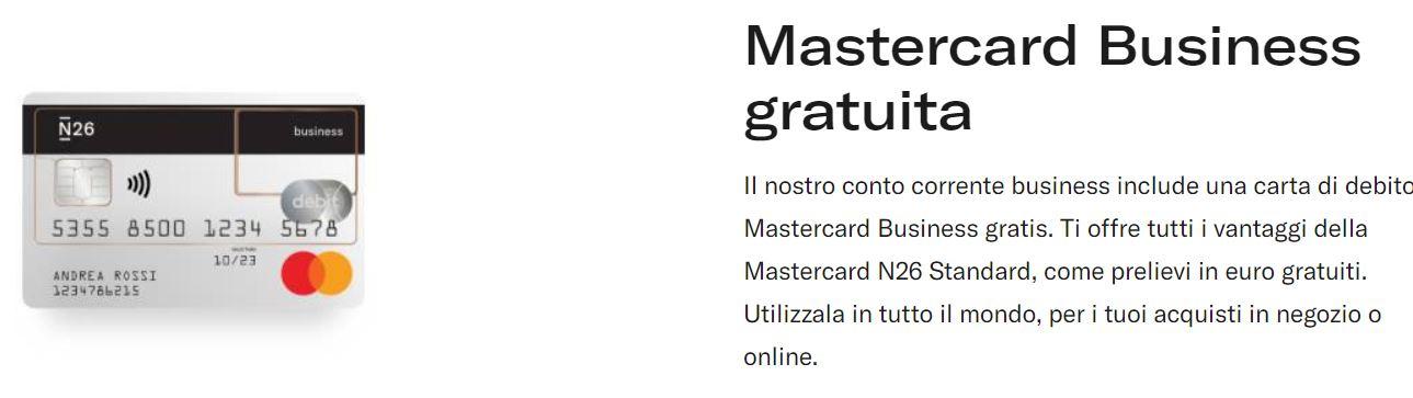 mastercard n26 business gratuita