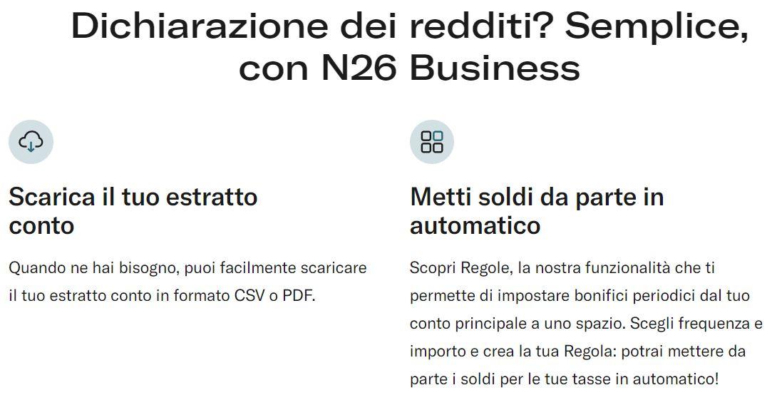 n26 business dichiarazione dei redditi