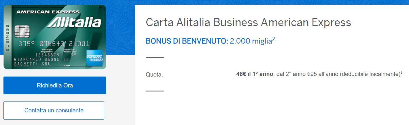 carta alitalia business american express