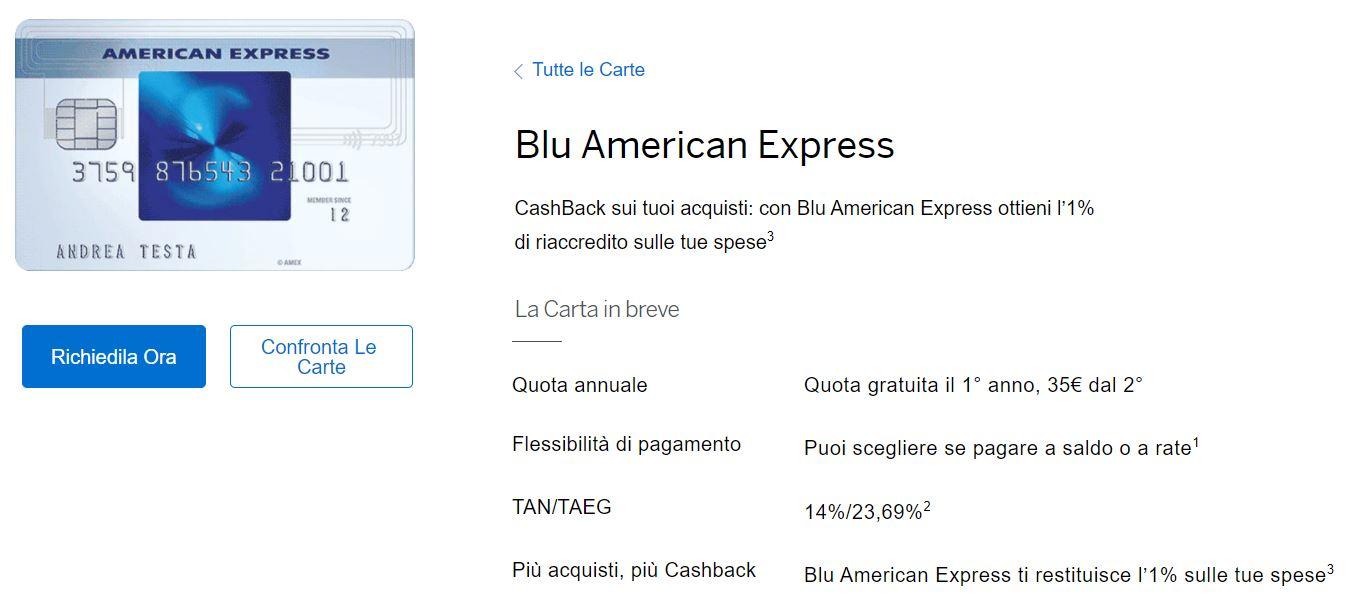 carta credito on line