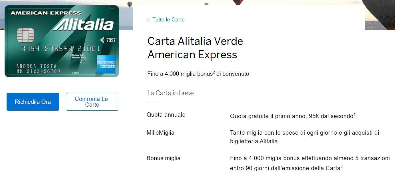 carta di credito gratuita american alitalia verde