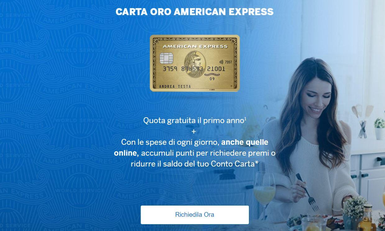 carta di credito gratuita amex oro