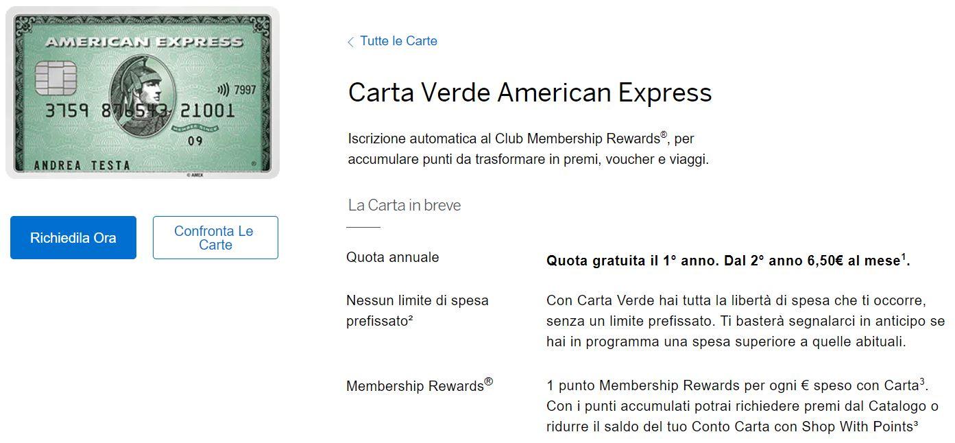 carta verde american express migliori carte di credito