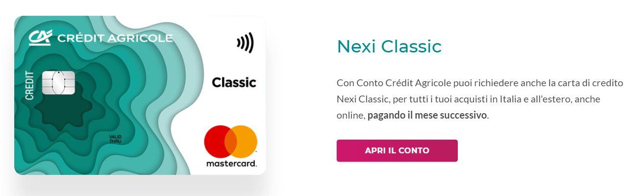 carte di credito online credit agricole nexi