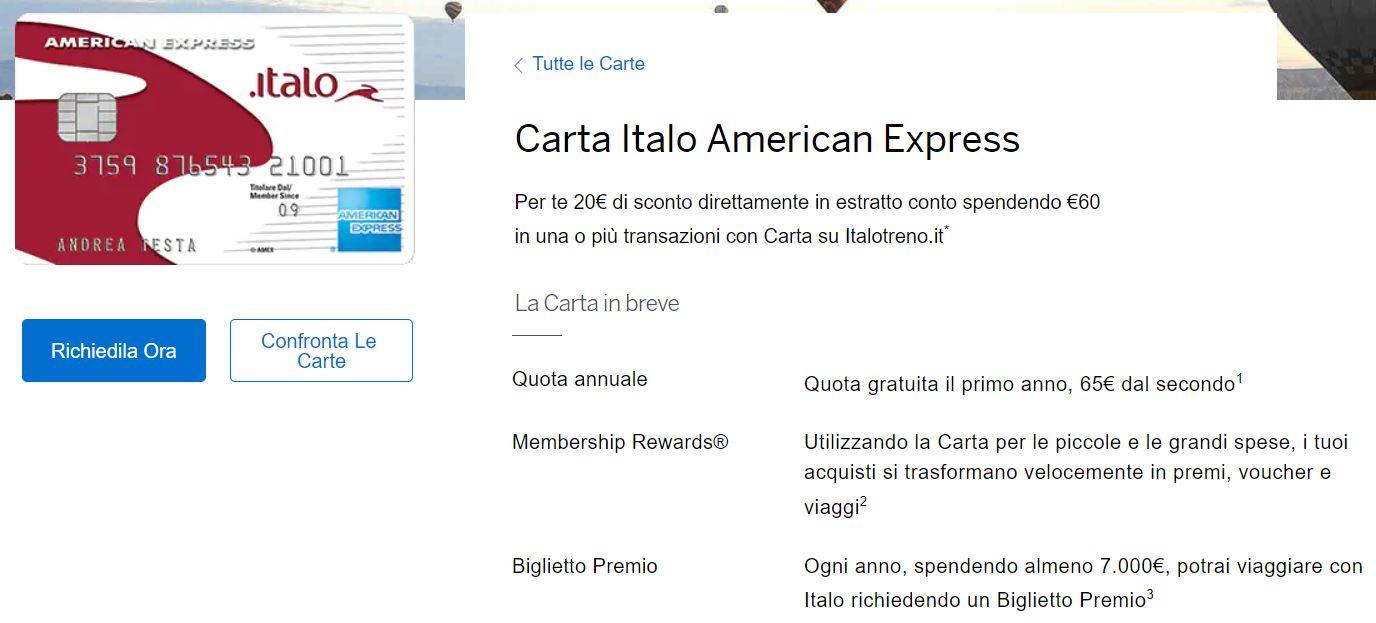 carte di credito online italo amex