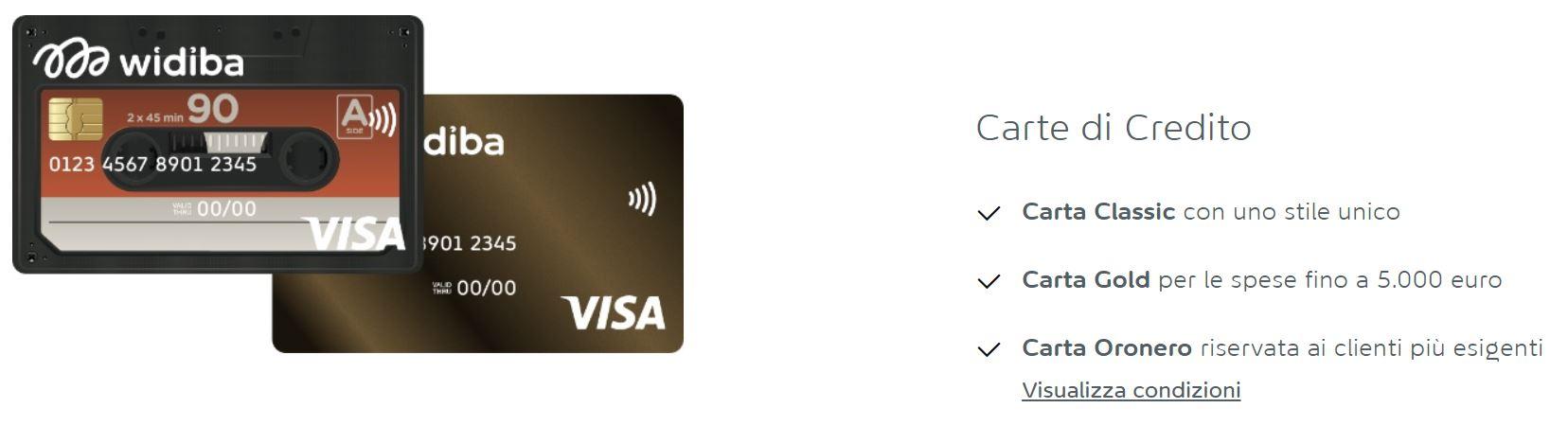 carte di credito widiba