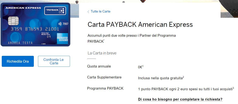 come funziona carta payback american express