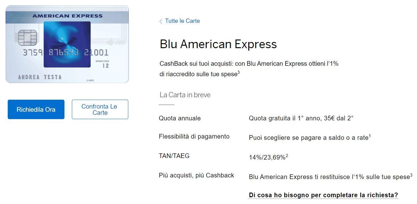 cos'è carta blu american express