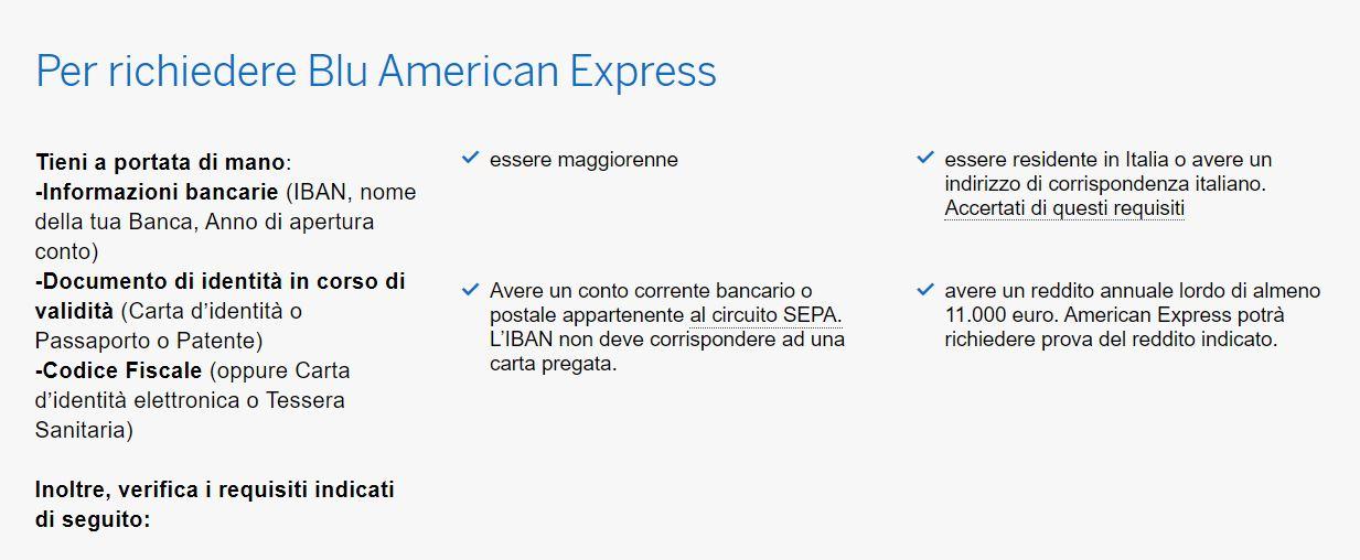 requisiti carta blu american express