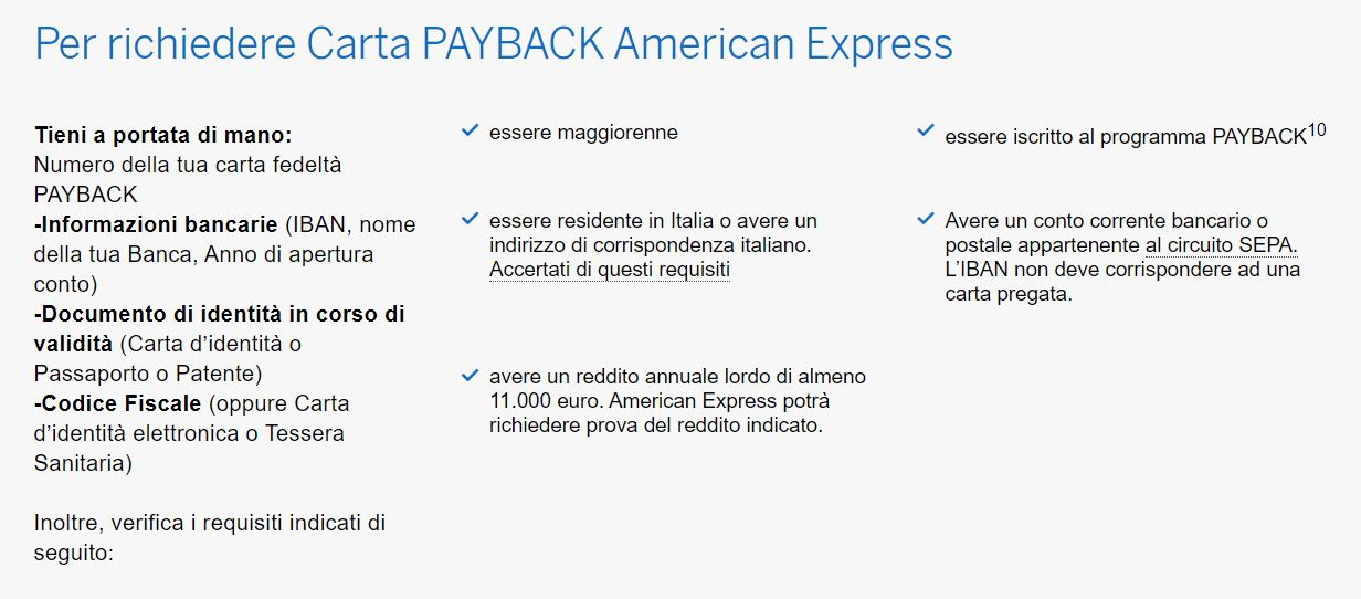 requisiti payback amex