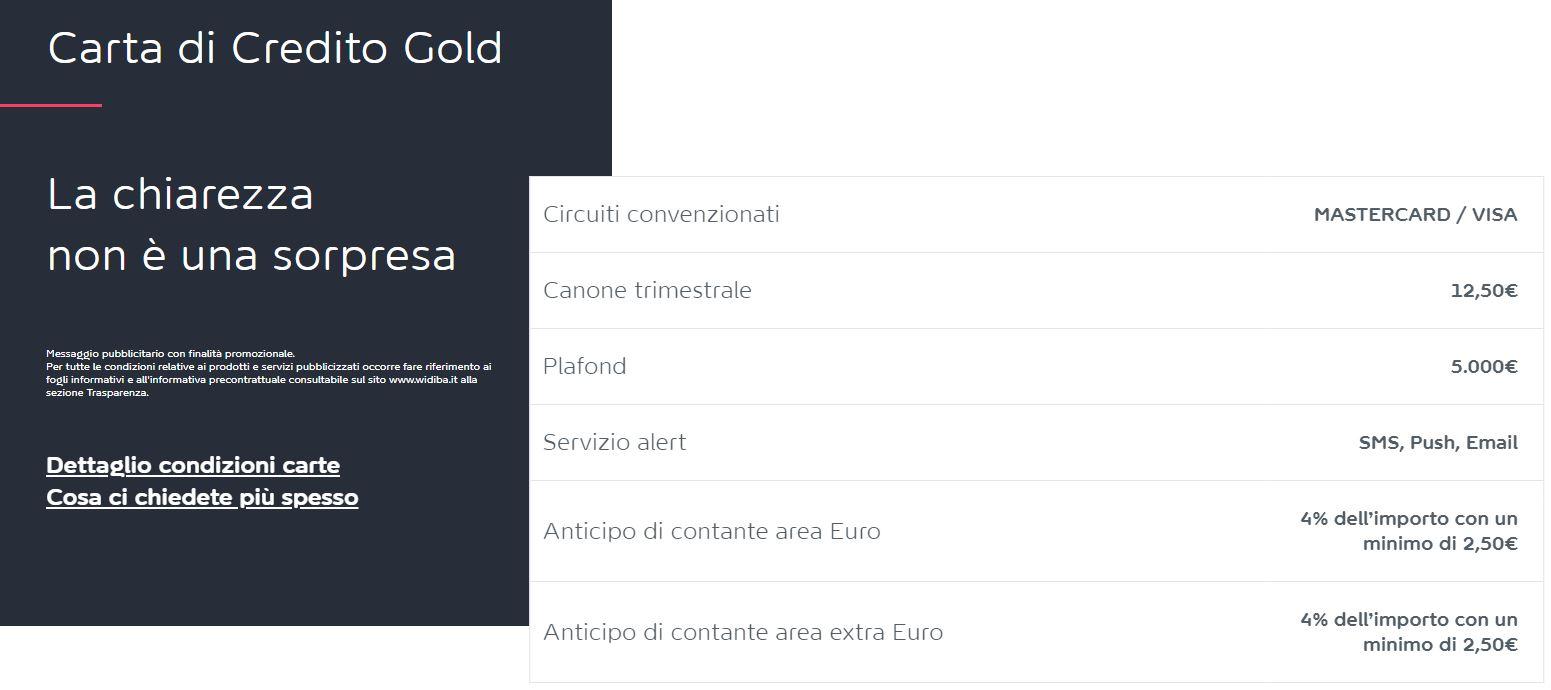 carta di credito gold visa widiba