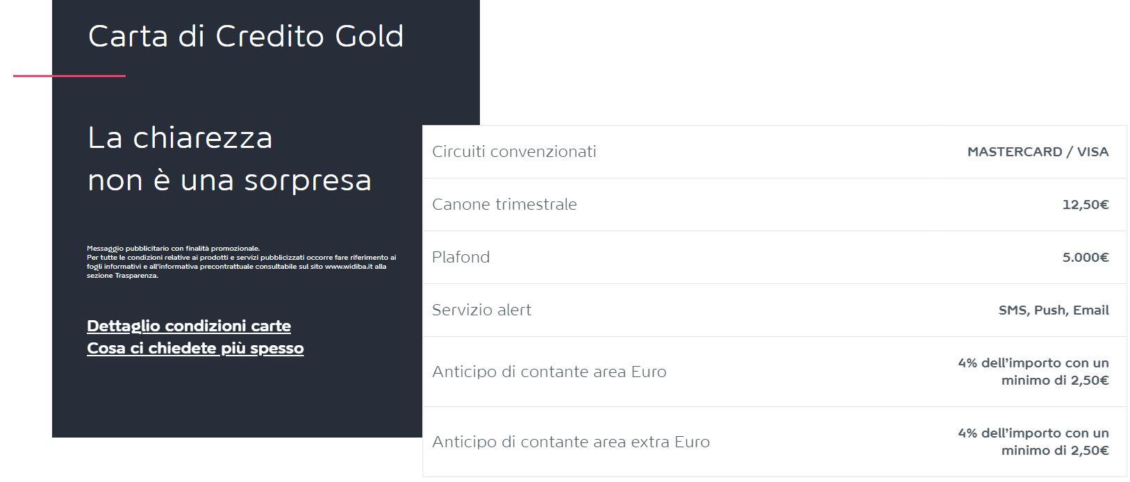 carta di credito gold widiba mastercard