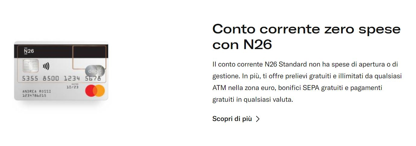 conto gratuito n26