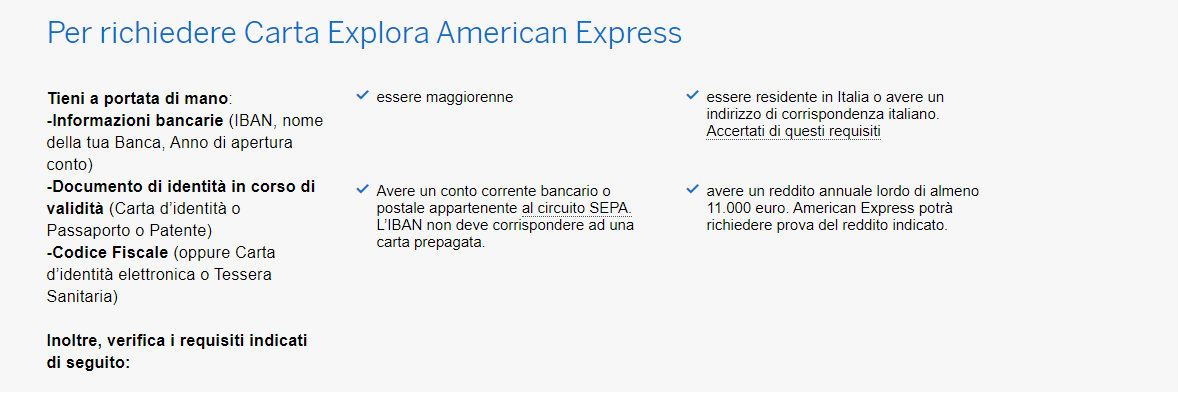 american express explora requisiti