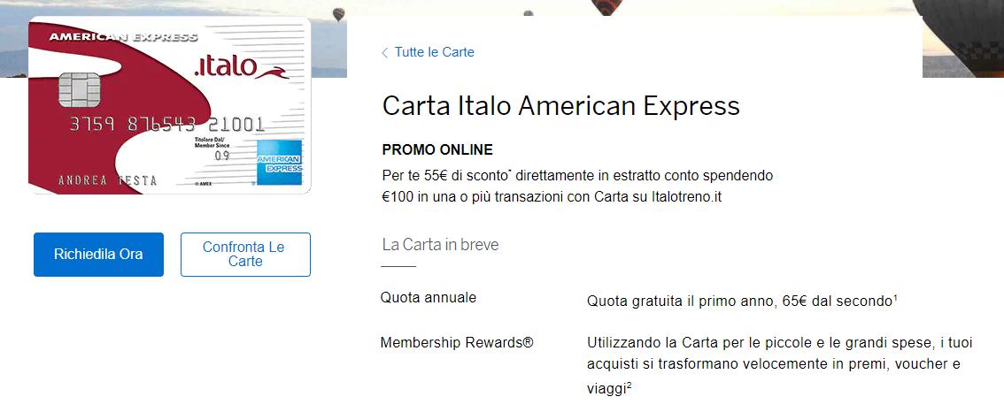 american express italo gratis