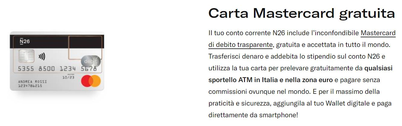carta debito mastercard n26