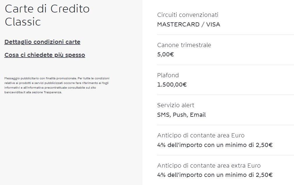 carta di credito italiana widiba