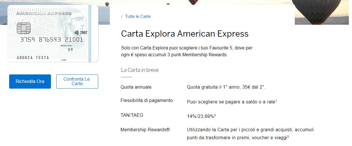 carta explora american express opinion