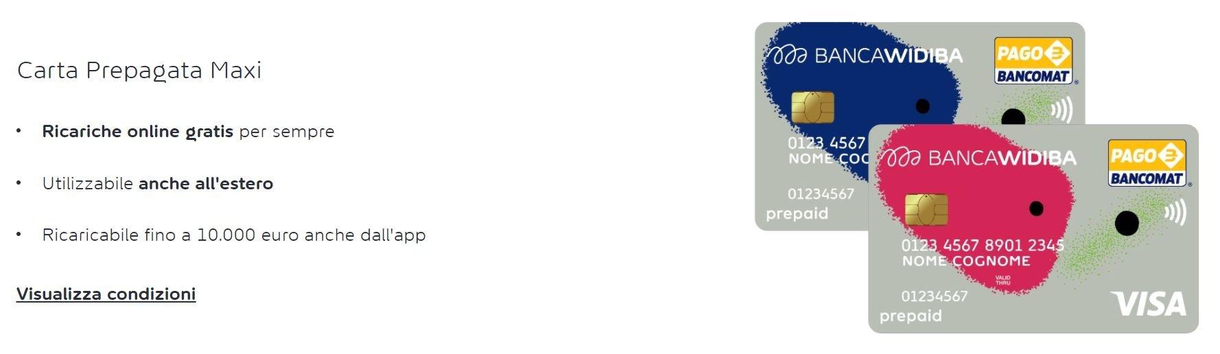 carta prepagata maxi widiba vs carta di credito