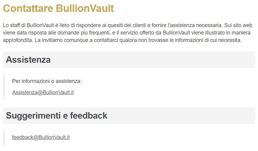 servizio clienti bullionvault
