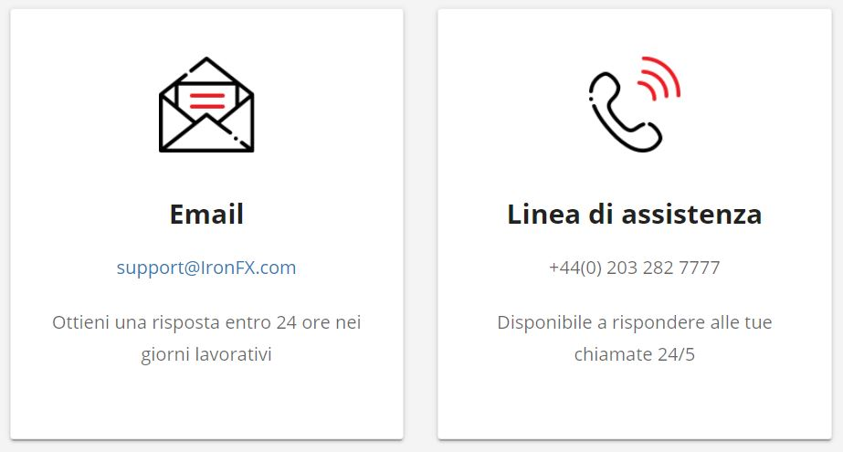 servizio clienti ironfx