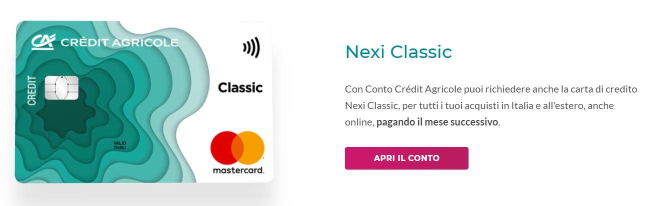 carta di credito nexi con fido 1500