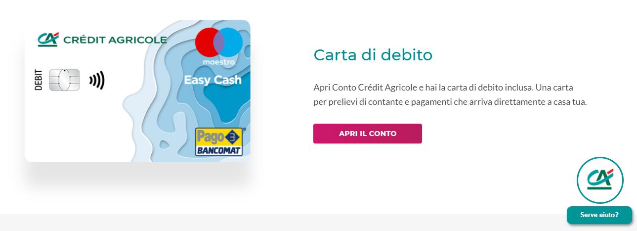 conto corrente credit agricole carta di debito
