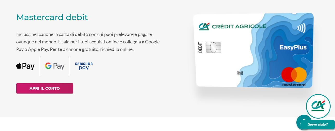 conto corrente credit agricole mastercard