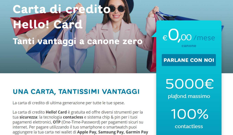 richiesta carta di credito online senza busta paga