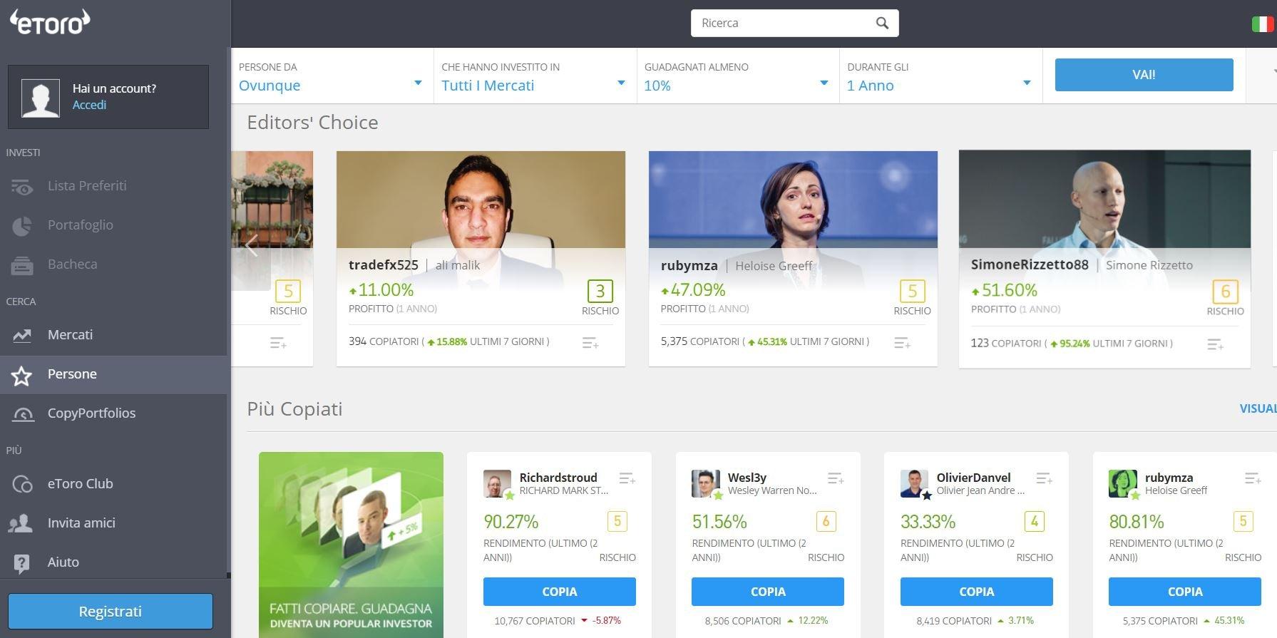 mirror trading piattaforma migliore