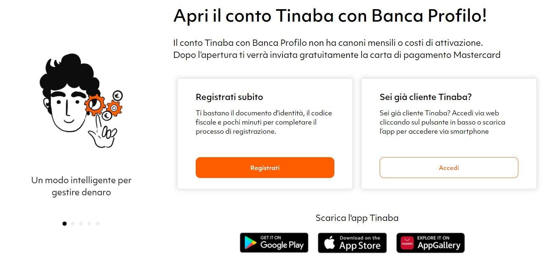 tinaba bonus benvenuto