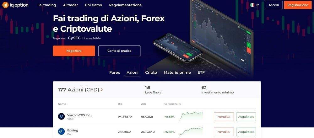 piattaforma trading azioni iq option